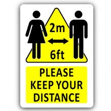 Please Keep Your Distance 2m 6ft Social Distancing Aluminium Metal Sign 150mmx100mm Notice,Safety